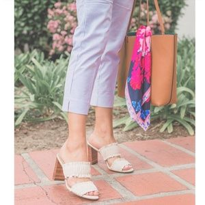 Harley leather ruffle block heels sandals sz 8m